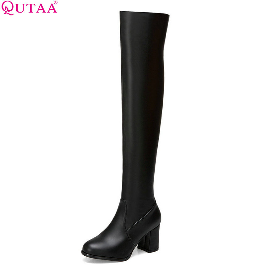 QUTAA 2019 Women Motorcycle Boots Fashion Winter Women Over The Knee High Boots Pu Leather Slip on Women Boots Big Size 34-43 new 2016 over the knee high boots women motorcycle boots side zipper knight boots low heels pu leather shoes big plus size 34 43