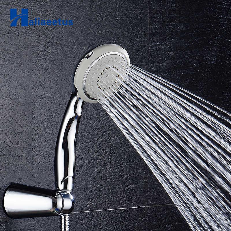 Oszczędzająca wodę słuchawka do prysznica pięć funkcji ciśnienia doładowania chrome deszczownica szef ABS otwory ręcznie prysznic łazienka akcesoria