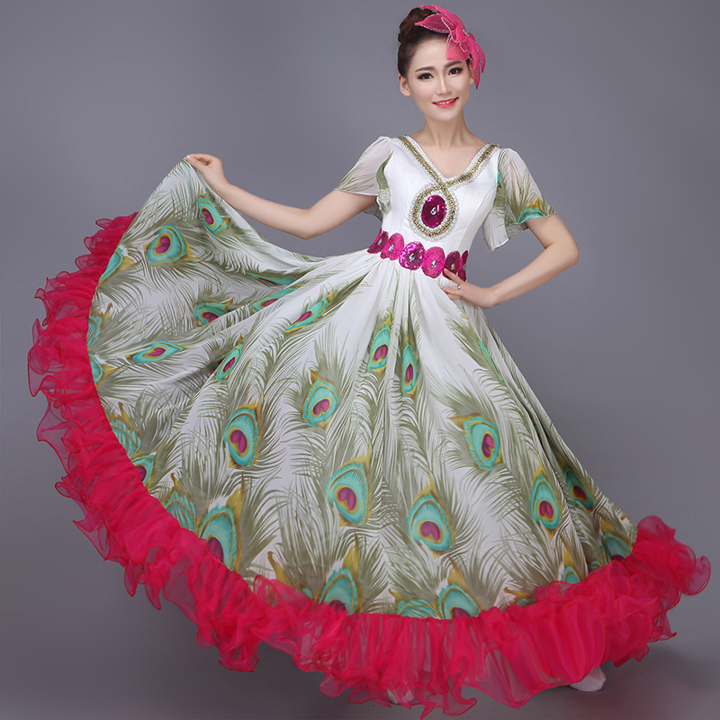 df33e6a62815 Green Pavaner Expansion Dress Peacock Dance Costume Performance Wear ...