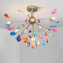 Modern Colorful Agate Foyer LED Pendant lights Romantic Art Design Decoration Restaurant Hanging Lamp Home Loft Deco Luminaire