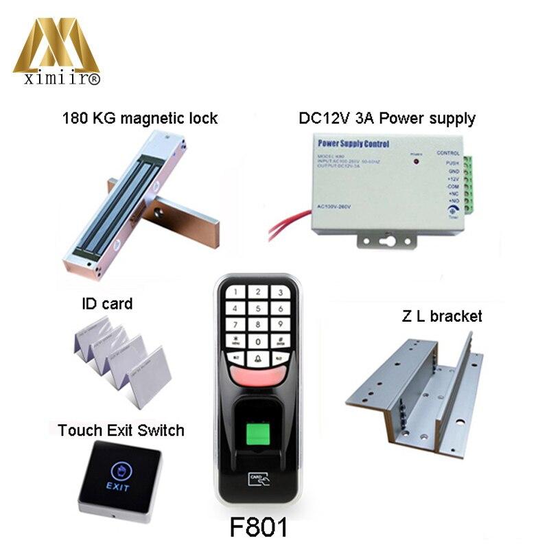 Système biométrique de contrôle d'accès de porte d'empreinte digitale F801, avec le Kit de contrôleur d'accès de porte de lecteur de carte de 125 KHz RFID F801