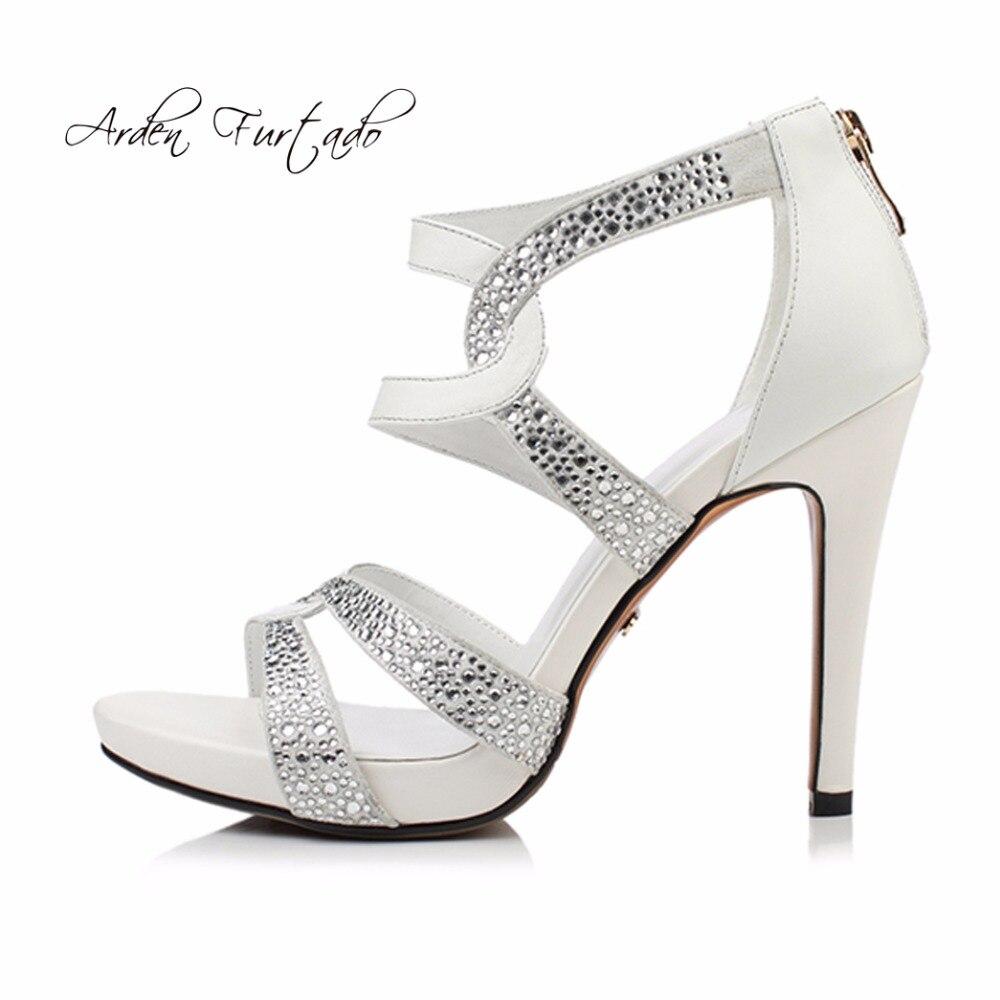 Arden Furtado 2018 sommer stilettos heels mode plattform high heels echtes leder marke schuhe zurück zipper weiß rot sandalen-in Hohe Absätze aus Schuhe bei  Gruppe 1