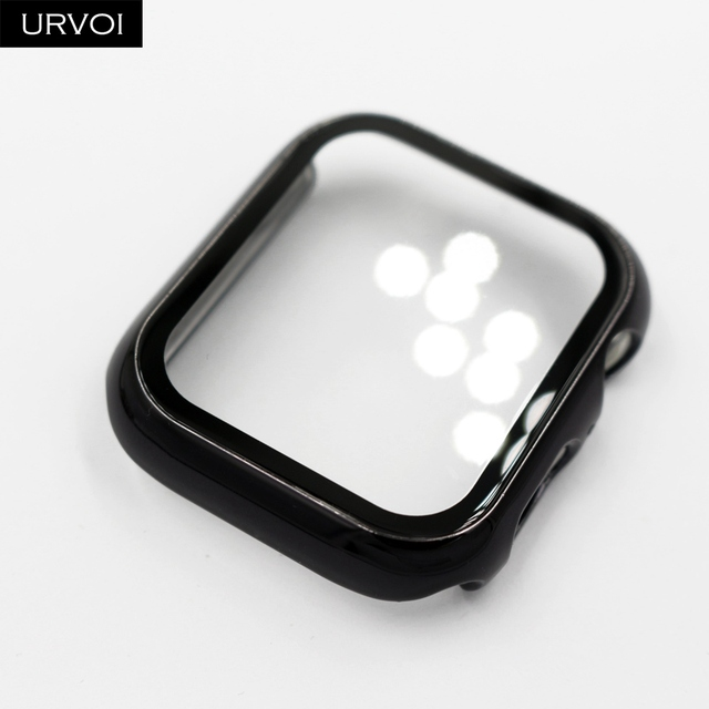 URVOI Full case for Apple Watch series 5 4 3 2 Plastic bumper hard frame cover with Tempered film for iWatch screen protector | Fotoflaco.net
