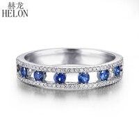 טבעת 10 K זהב לבן אמיתי 0.4ct HELON אבני ספיר להקה בסדר יהלומים טבעיים אירוסין חתונה יפה תכשיטים ואבני חן טבעת