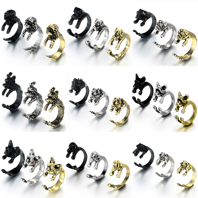 New Fashion 3 color Vintage antique Hippie Chic Dog open size Ring Cute Animal R