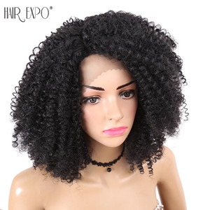 Hair Expo City 12inch Short Kinky Curly Lace Front Synthetic Wigs Natural Hairline Heat Resistant Hairs Cosplay Party For Women