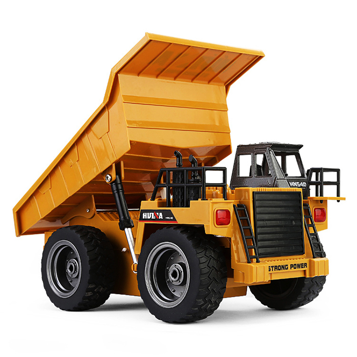HUINA 1540 1:18 2.4G 6CH RC Alloy Dump Truck Reinforced Alloy Rotate RC Excavator Engineering Car Remote Control Cars Boys Gifts huina 1586 1 18 6 channels 2 4g engineering truck snowplows alloy rc car toys