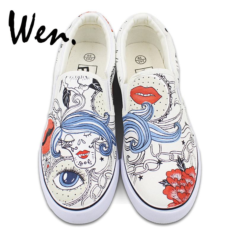 Men Women Slip on Flats Shoes Hand Painted Canvas Sneakers Abstract Style Women Hair Flower Chain Design Gifts