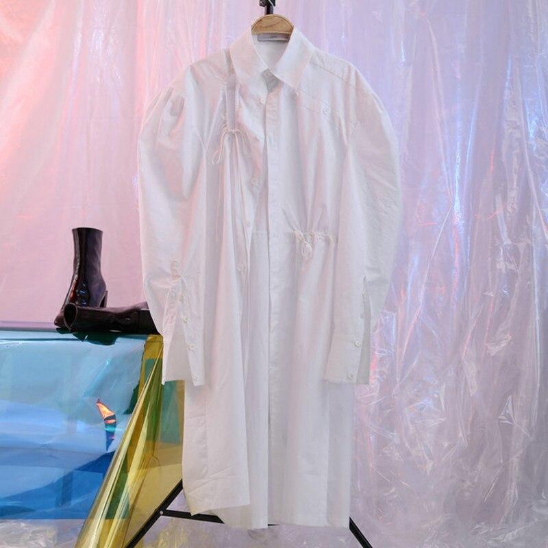 DEAT 2019 nouveau printemps revers longue lanterne manches blanc trous cordon lâche longue chemise femmes Blouse mode marée JE55500S - 4