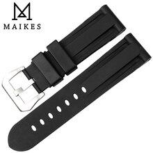 MAIKES New rubber watch band 24mm black watchbands men watch accessories sport watch strap watch bracelet for Panerai цена 2017