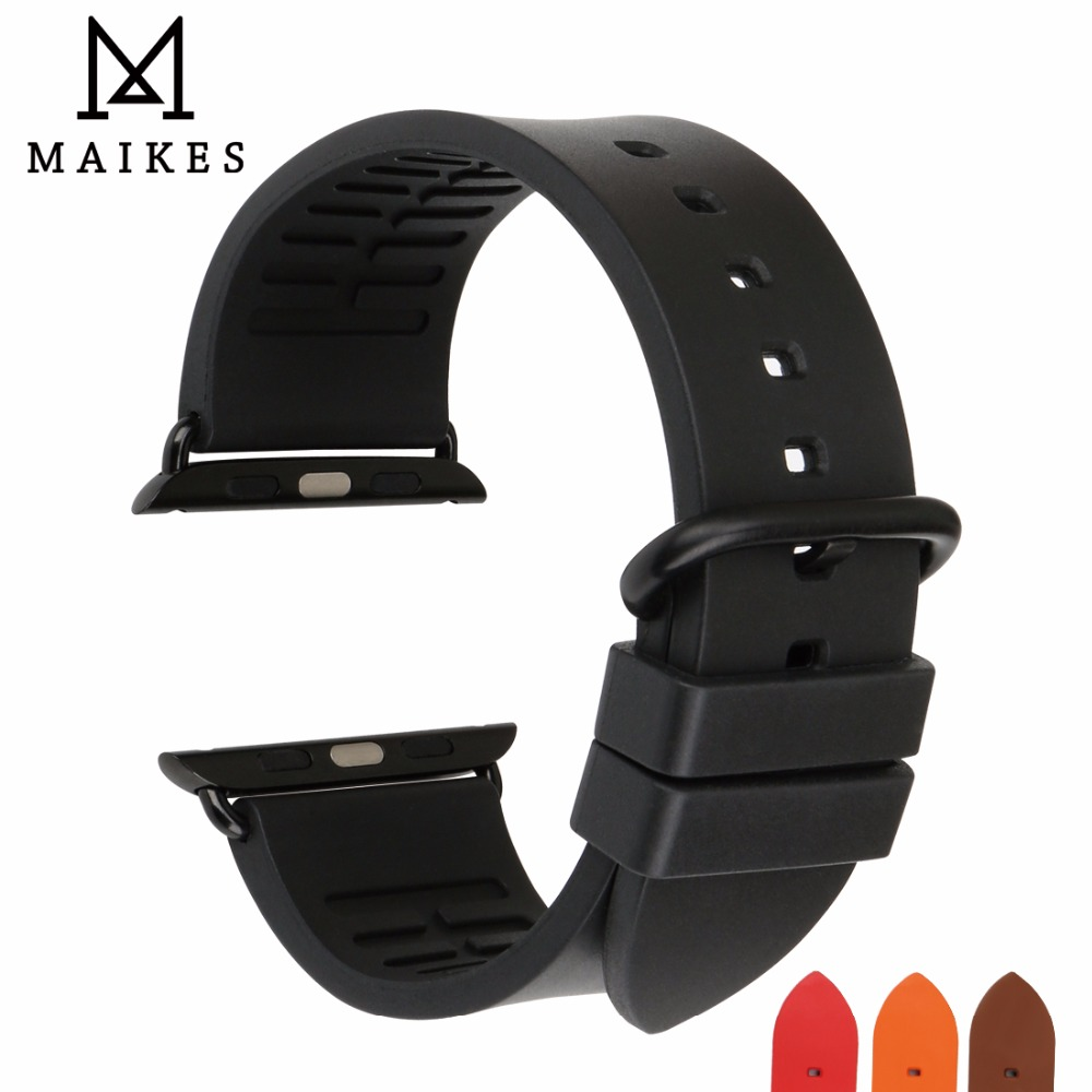MAIKES Fluoro Rubber Watch Strap Replacement Apple Watch Band 42mm 44mm 40mm Series 4 3 2 1 All Models iWatch Band 38mm 20 colors sport band for apple watch band 44mm 40mm 38mm 42mm replacement watch strap for iwatch bands series 4 3 2 1