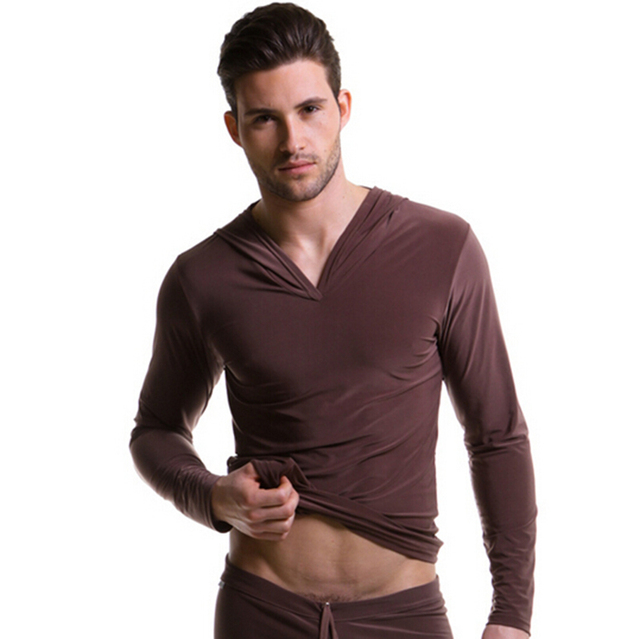 Hot Solid Full Wholesale Men's Fashion Comfortable Top Wear New Clothes Soft Milk Silk Sleep Tops S M L Hombres Pijama
