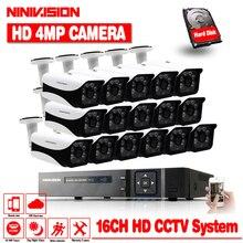 AHD 16CH CCTV Системы 1080 P HDMI DVR 16 шт. 4MP Крытый Открытый всепогодный CCTV Камера безопасности Системы 4.0mp наблюдения комплект