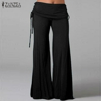 Women Long Flared Wide Leg Pants 2016 Summer Ladies Casual Loose Sports Yoga Trousers Layers Fashion
