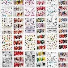 18 видов конструкций рождественские наклейки для ногтей 3D золотые и серебряные металлические снежинки Рождественская елка Рождественские украшения для ногтей наклейки XF