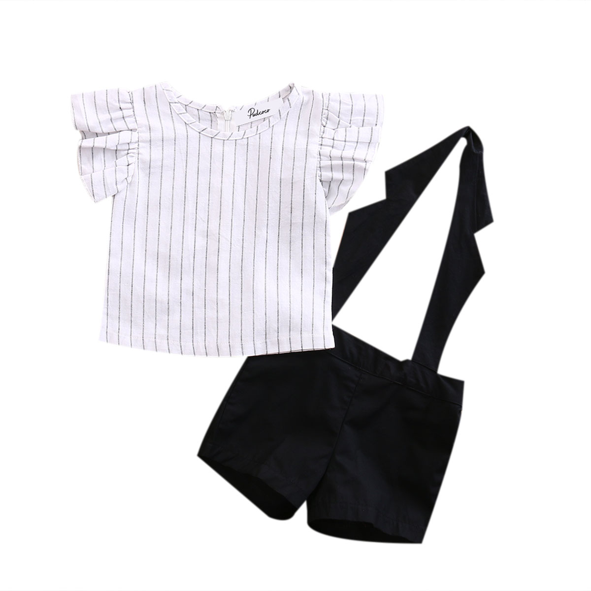 2Pcs Ruffles Striped baby birthday clothes set 2017 Summer Baby Girls Tops +halter Shorts Outfits Set