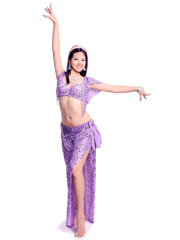 Venta caliente Envío gratis Nuevo diseño de alta calidad traje de danza del vientre / desgaste del paño / BRA falda con cuentas - cola de pescado