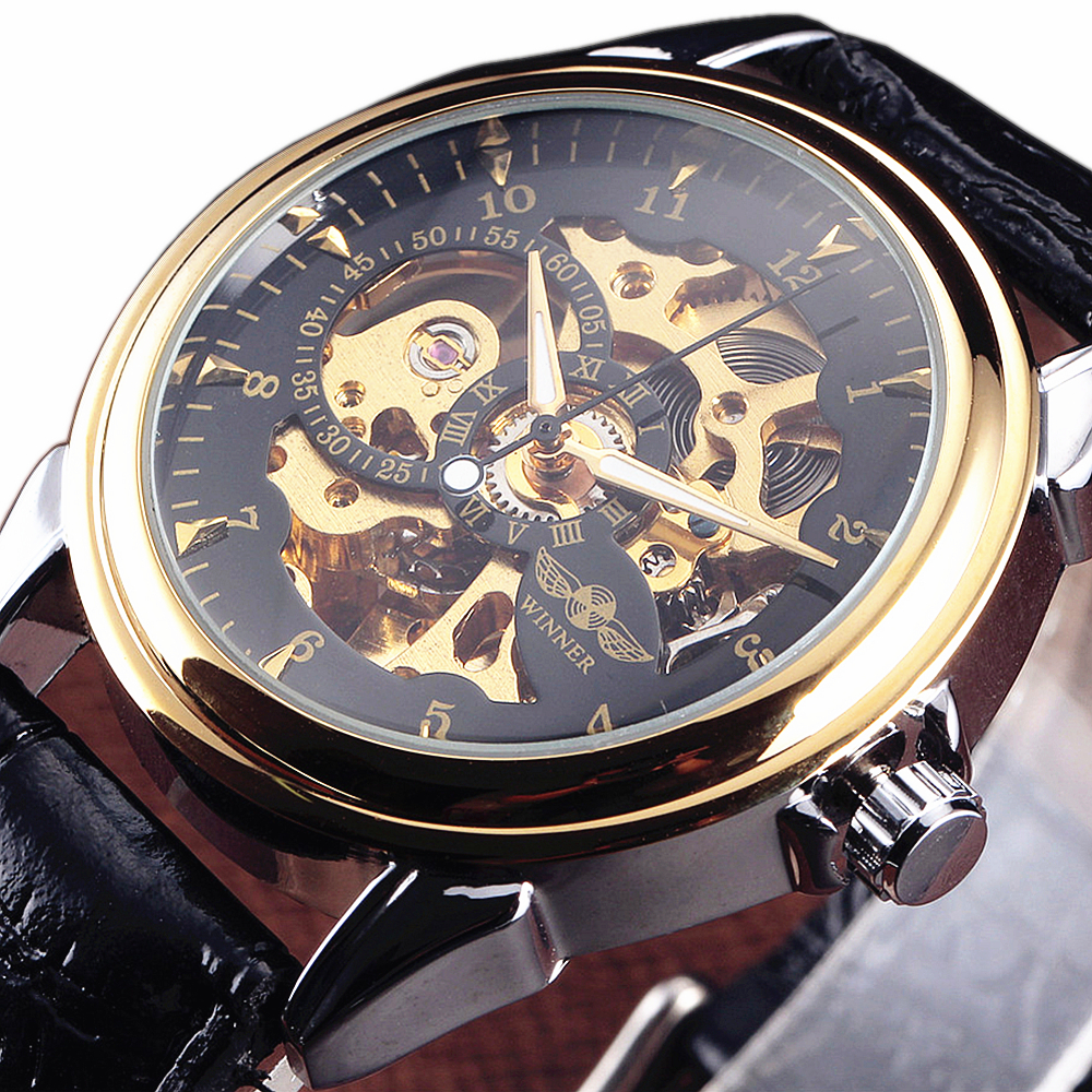 Winner Watch Men Fashion Military Automatic Mechanical Skeleton Wristwatches Leather Strap Golden Black Dial Back Cover Glass все цены