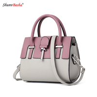 Female Pu Leather Splicing Bag 2017 Europe And The United States New Ladies Crossbody Totes Fashion