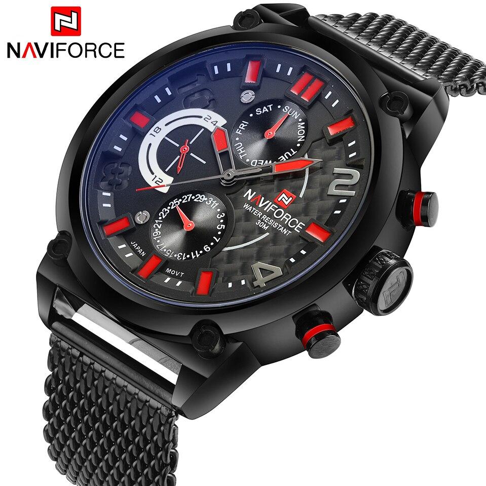 Prix pour Naviforce Marque De Luxe Hommes Acier Inoxydable Analogique Montres Hommes de Quartz 24 Heures Date Horloge Homme Mode Casual Sport Wirst montre