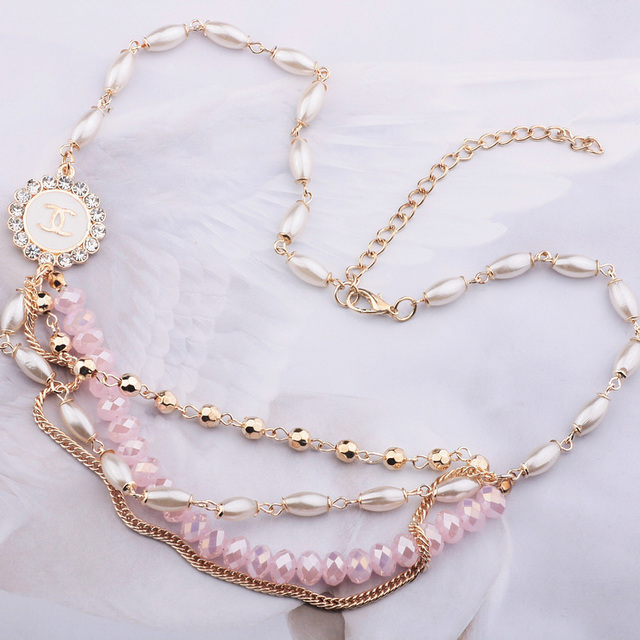 Accessories multi-layer pearl crystal chain mix match quality short design necklace female accessories