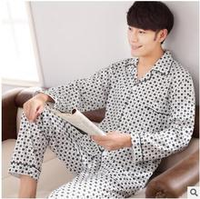 Men 's autumn s long - sleeved cardigan cotton household clothes Pajamas suits