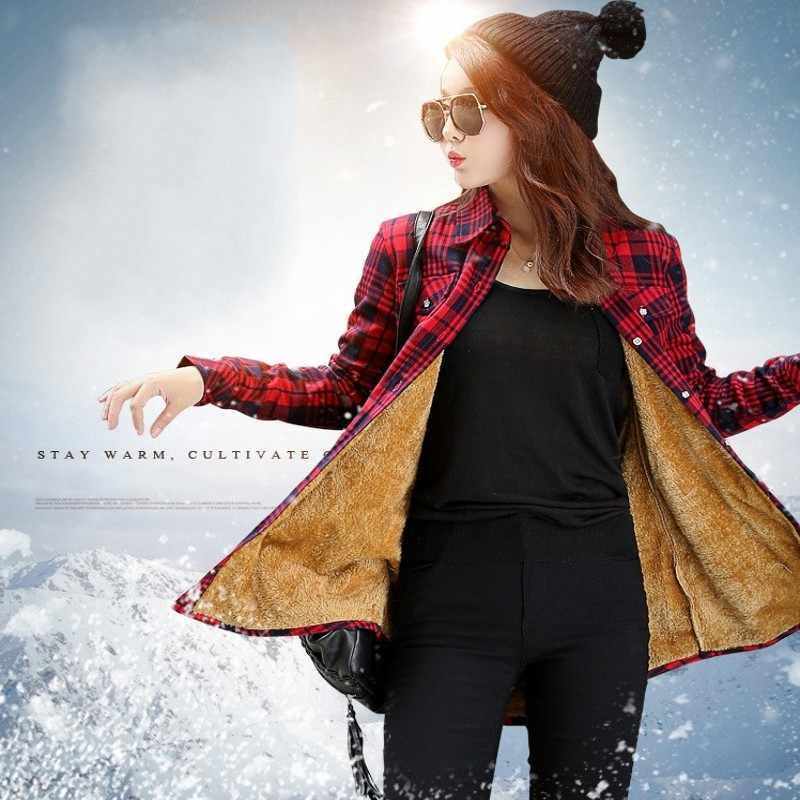 Wanita Beludru Tebal Kemeja Kotak-kotak yang Hangat Checkered Blouse Blusas Femininas Perempuan Penuh Tops Musim Dingin Panjang Kamisol Femme M-XXL HS1589