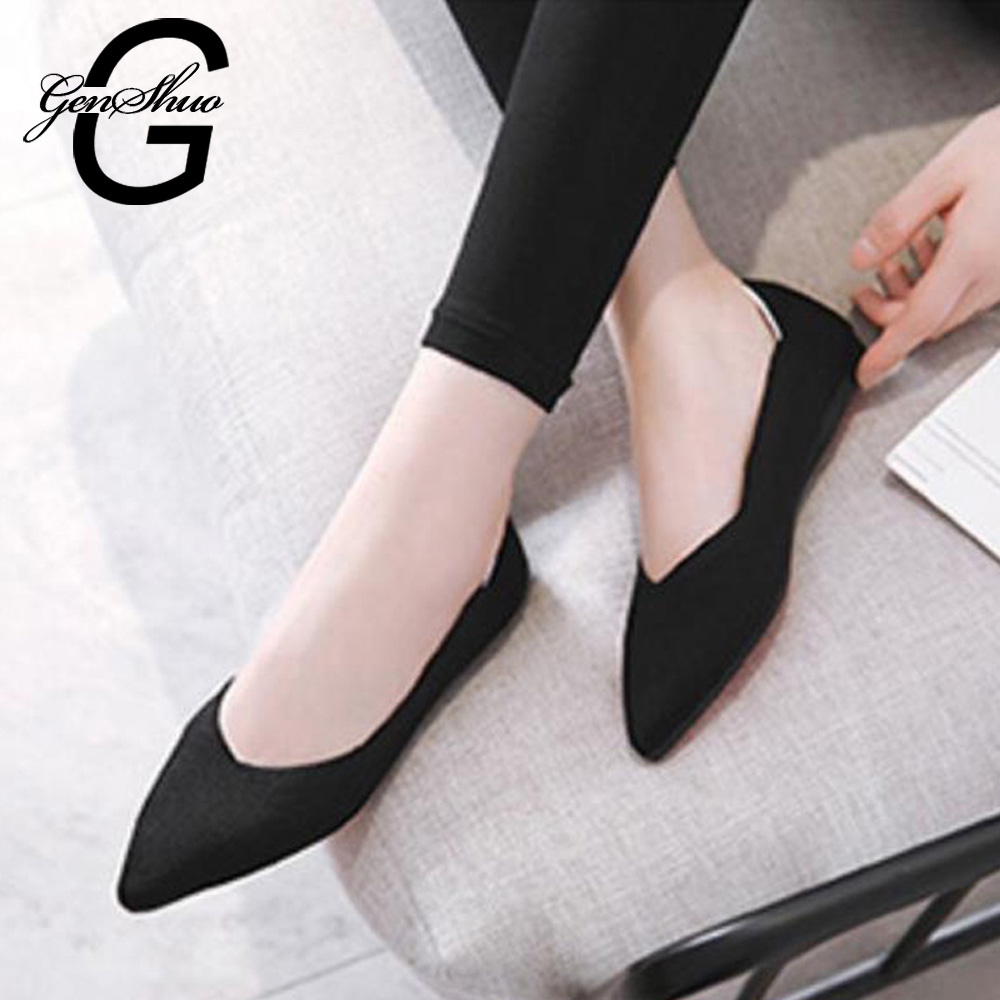 GENSHUO New Autumn Casual Flat Shoes For Women Breathable Comfortable Soft-soled Shoes Pointed Toe Flat Women Shoes Shallow Red(China)