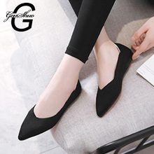 GENSHUO 새 Autumn Casual Flat Shoes 대 한 Women 숨 편안한 Soft-soled Shoes 첨 Toe Flat Women Shoes 얕은 red(China)