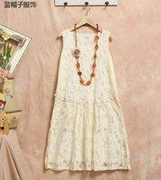 vestido azul loose dress linen vestidos de renda femininos hippie lolita lace patchwork bayan elbise boho chic combinaison femme