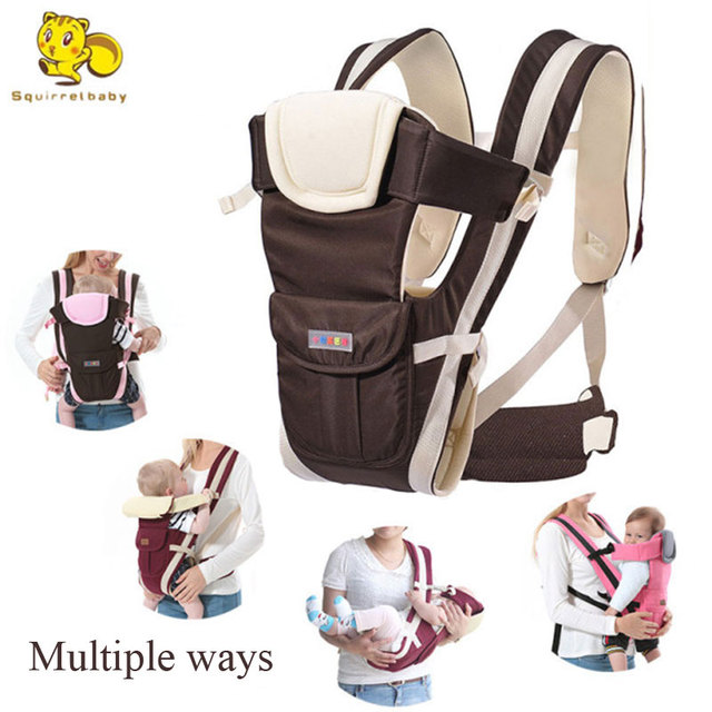 Squirrelbaby 0-30 Months Breathable Front Facing Baby Carrier 4 in 1 Infant Comfortable Sling Backpack Pouch Wrap Baby