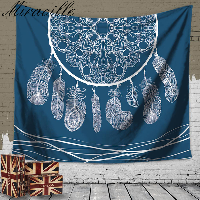 How To Hang A Tapestry On The Wall aliexpress : buy miracille beautiful dream catcher printed
