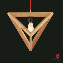 Dynasty Polygon Wooden Hanging Lights Triangle Fancy Oak Pendant Lamp Asia Art Decorative Dining Room Restaurant Hotel Project