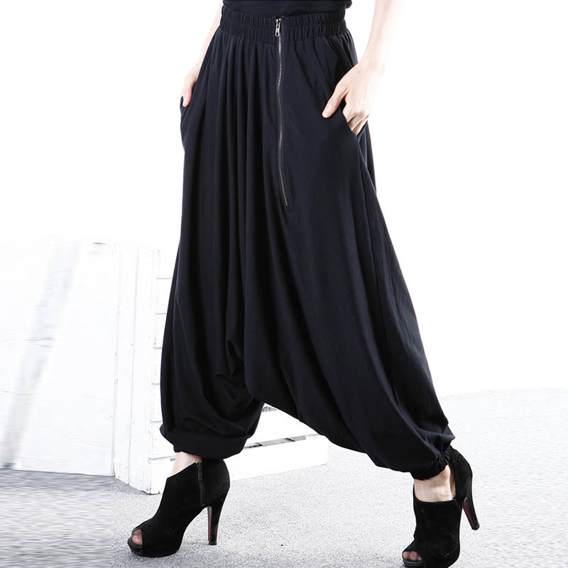 ZANZEA Fashion Women Low-Crotch Zip Long Harem   Pants   Pockets Baggy Turnip Pantalon Trousers Gothic Style Black   Wide     Leg     Pants