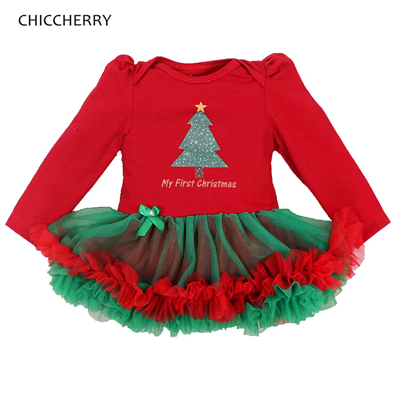 ce7082730 My First Christmas Costumes for Kids Clothes Long Sleeve Baby Girl Dress  Toddler Lace Tutu Vestido Girls Red Christmas Dress