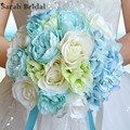 Customized Bridal Wedding Bouquet With 18 Pieces Silk Roses,Romantic Wedding Colorful Bride 's Bouquet buque casamento WF050MB