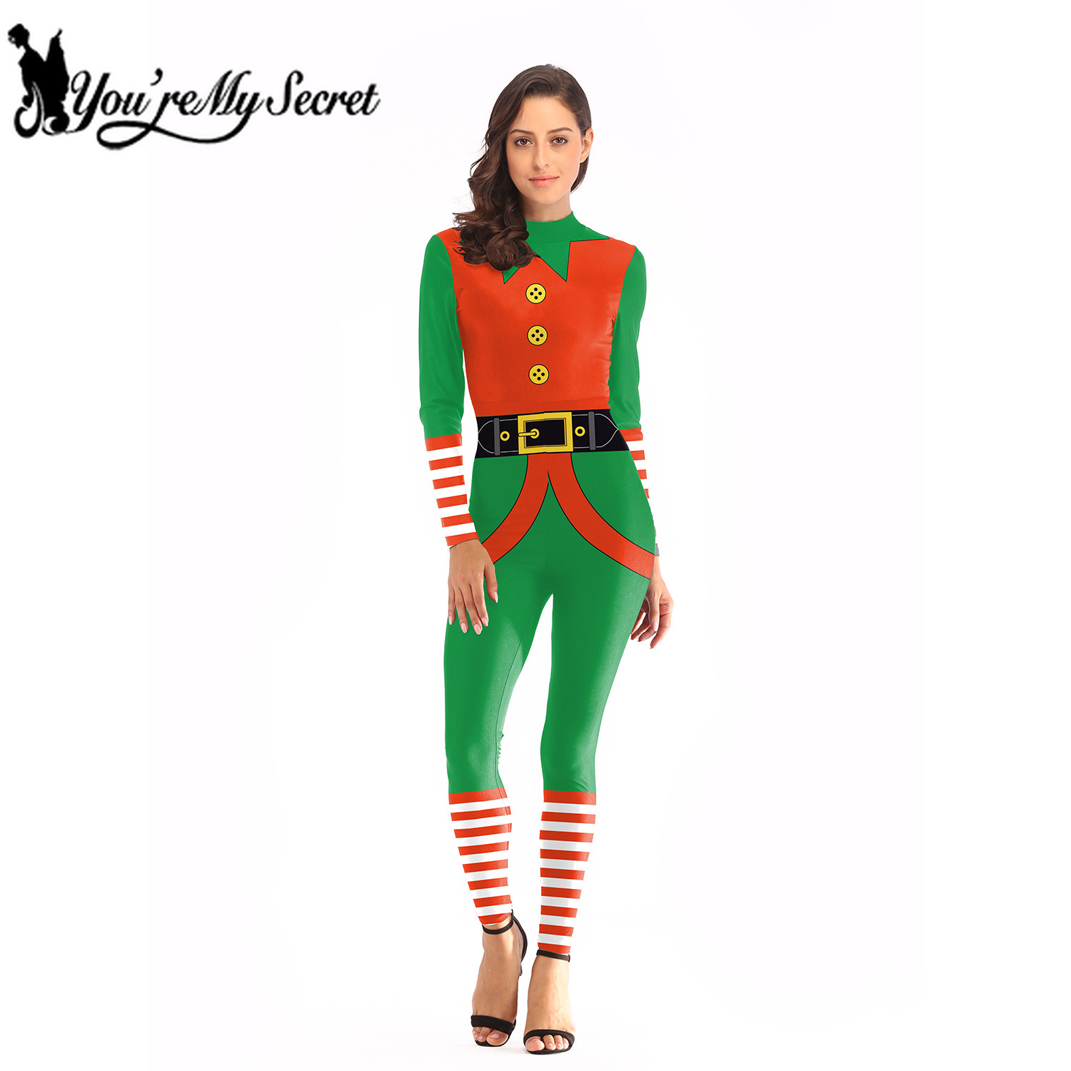 [You're My Secret] Jumpsuits for Women 2019 Christmas Hodiday Party Red Green Striped Classic Design Adult Slim Bodysuit Costume