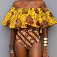 Almostlover1209 Yellow Bikini 2018 Swimsuit Women Print Ruffled Swimwear Biquini Off Shoulder Beachwear S L Size