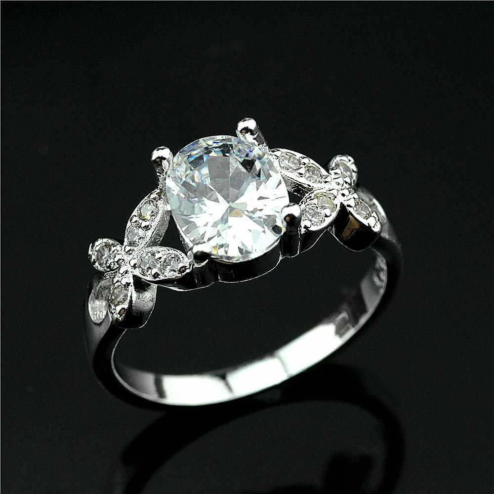 925 טבעת כסף לבן קריסטל פרפר זירקון טבעת פופולרי קוריאני גרסה של קריסטל פשוט טבעת אישה טבעת