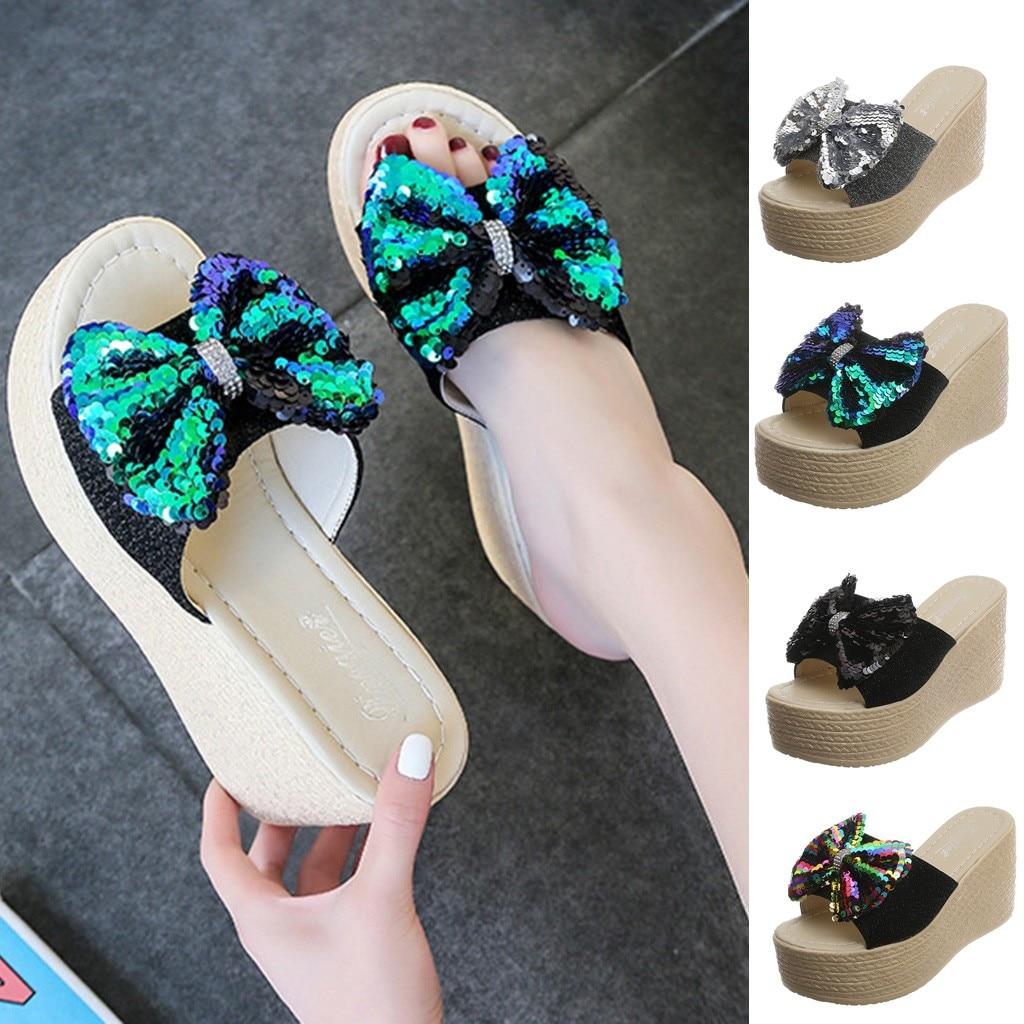 Womail Women Summer Plat Bowknot Slippers Fashion Beach Flipflop Shoes Open Peep-Toe Sandals