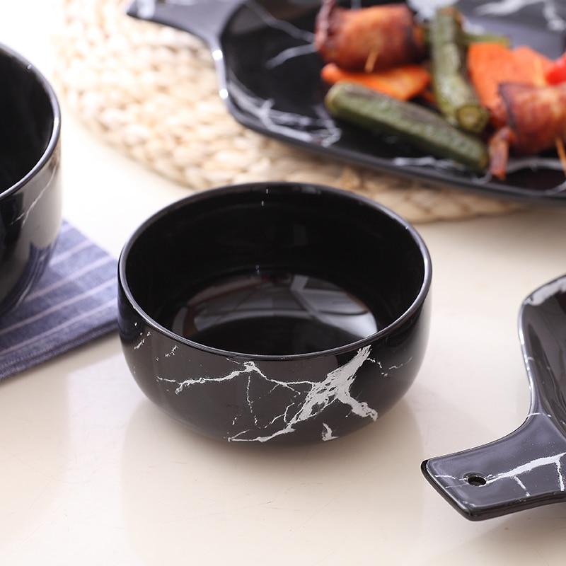 Creative Design Marble Grain Ceramic Rice Bowls Porcelain