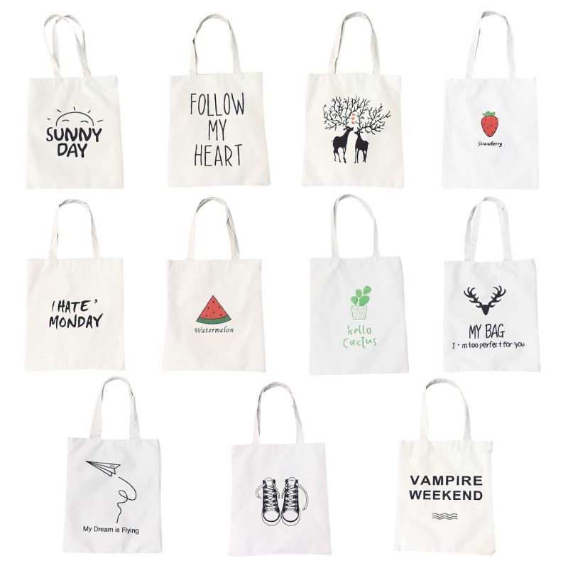 Cute Print Canvas Tote Women Shopper Shopping Shoulder Bags Reusable Foldable