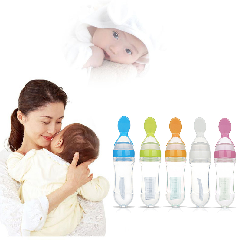 Newborn Baby Squeeze Feeding Bottle Silicone Training Porridge Rice Spoon Infant Cereal Food Supplement Feeder Safe Tableware