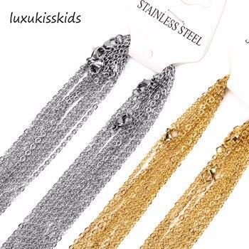 Luxkisskids 10 pcs/lot chaîne collier 2mm hommes femmes or/argent acier inoxydable lien cubain chaîne colliers pour la fabrication de bijoux