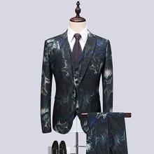 цены Boutique fancy suits men's host performance dress nightclub groom wedding dress suit three-piece suit (jacket + vest + trousers)