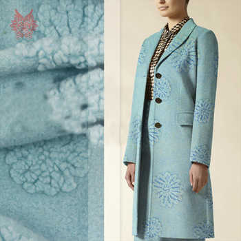 Light blue 3D floral jacquard cashmere wool fabric for coat dress winter fluffy woolen tissue stoffen tissu SP4555 Free shipping - DISCOUNT ITEM  50% OFF All Category