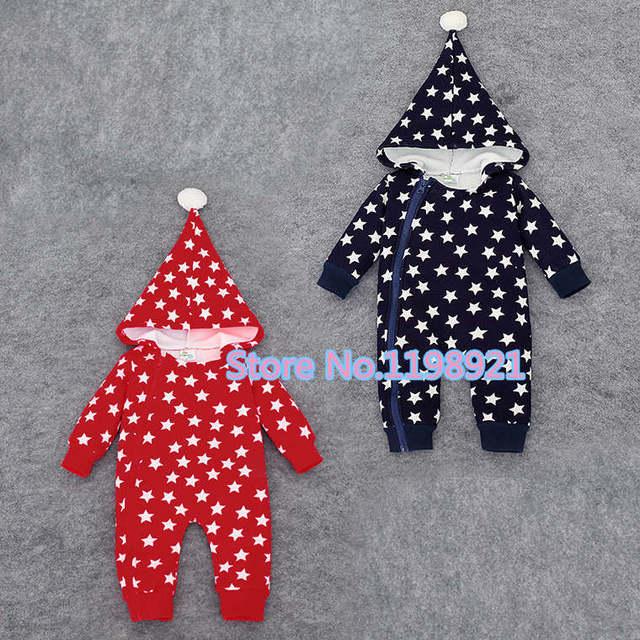 Mamelucos del bebé caliente con cremallera con capucha de algodón estampado de estrellas de invierno mamelucos del bebé recién nacido bebé traje para la nieve mono trajes de disfraces