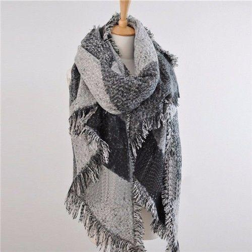 Meihuida модные большие шарфы женские длинные кашемировые зимние полушерстяные мягкий теплый клетчатый шарф шаль клетчатый шарф - Цвет: Серый