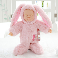 Nooer Cute Reborn Simulation Sleep Baby Doll Lifelike Alive Rabbit Silicone Baby Sleeping Plush Doll Kids