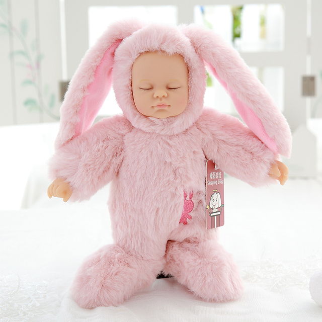 Nooer Cute Reborn Simulation Sleep Baby Doll Lifelike Alive Rabbit Silicone Baby Sleeping Plush Doll Kids Toy Birthday Girl Gift